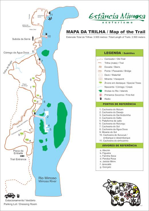Mapa da trilha da Estância Mimosa